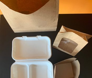 Picture showing takeaway packaging used at Pinche Pinche